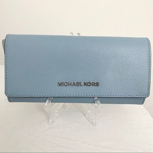 Michael Kors Powder Blue Large Carryall Wallet